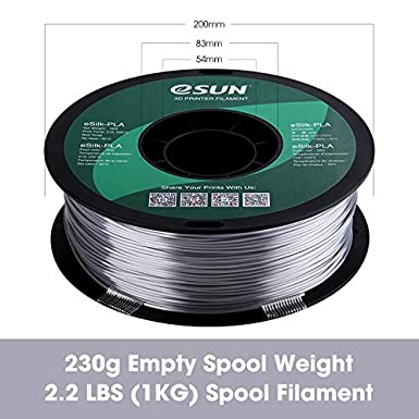 eSUN Seda PLA Filamento de Impresora 3D 1KG Precisi/ón Dimensional +//- 0.05mm Carrete Materiale de Impresi/ón 3D Seda Amarillo 2.2 LBS Filamento PLA 1.75mm