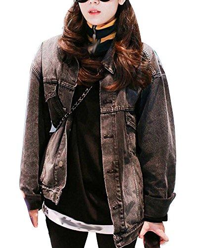 Loose Vaquera Mujer Negro Denim Chaquetas Casual Fit Mezclilla Jacket De Corto Cazadora Abrigo Manga Larga 6FqXrWvaF