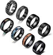JEWPARK 8Pcs Stainless Steel Black Fidget Band Rings for Women Mens Cool Spinner Rings 6/8MM Wide Wedding Porm