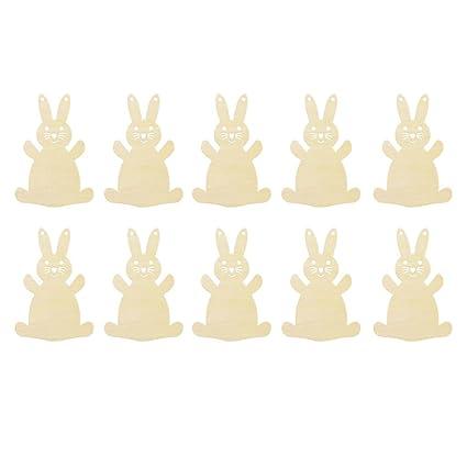 Amazoncom Homyl Pack Of 10 Happy Easter Wooden Bunny Rabbit