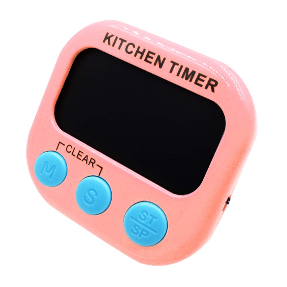 Kitchen Timer,FTXJ Large LCD Digital Kitchen Cooking Timer Count Down Up Clock Loud Alarm Magnetic (82x75x20mm, Pink)