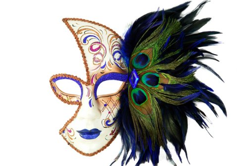 [Tribal Classic Venetian Design Laser Cut Masquerade Mask, Attached w/ Vibrant Blue and Green Peacock] (Adult Diamond Jester Costumes)