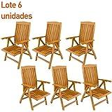Pack 6 sillones para exterior de teca - Portes Gratis