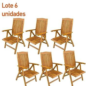 Pack 6 sillones para exterior de teca - Portes Gratis ...