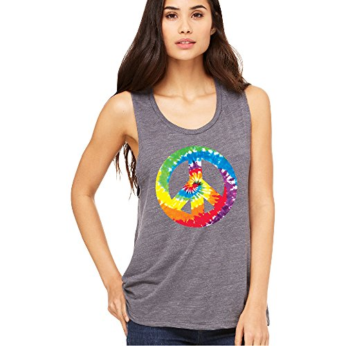 Peace Sign Womens Tank Top (Colored Tie Dye Vintage Peace Sign Women's Muscle Tank Fashion Quality Tee Asphalt Slub Medium)