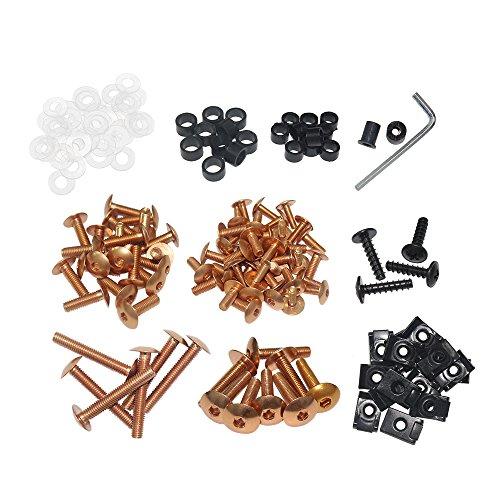 03 Motorcycle Fairing Kit - ZXMOTO Universal Motorcycle Aluminium Fairing Bolt Kit (Copper)