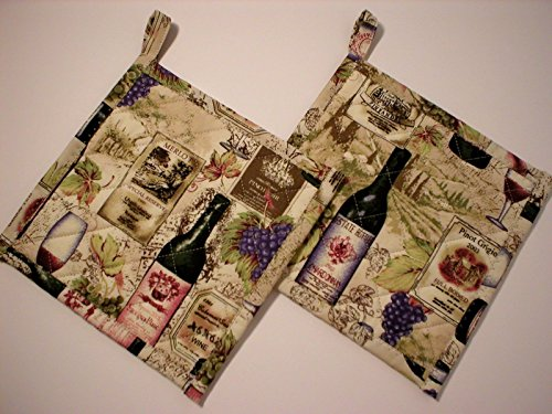 Handmade Quilted Pot Holders, Hot Pads, Trivets, Set of 2, Wine Bottles Glasses Labels and Grapes, Beige, With Hanging Loop, 7