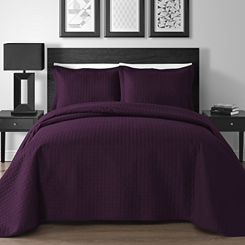 Extra Lightweight 3 Piece King & Queen Home Thermosonic Embossed Frame Coverlet Bedspread Set (King/Cal King, Plum) (King Plum Bedspread)