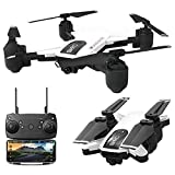 Fullwei Drone x pro 5G Selfi WIFI FPV GPS With 1080P HD Camera Foldable Brushless RC Quadcopter with Carry Box +Manual+Propeller+ Lipo Battery+Transmitter (white)