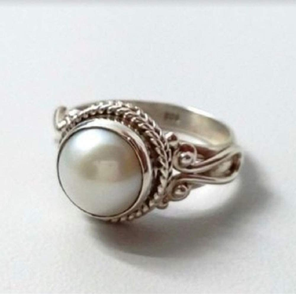 MAIHAO Vintage Round Shape Moonstone Ring Fashion Trend Antique White Pearl Lady Wedding Engagement Ring Jewelry Size 6-10 US Code 10