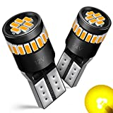AUXITO 194 LED Light Bulb,Super Bright Amber Yellow 168 2825 W5W T10 Wedge 24-SMD 3014 Chipsets LED Replacement Bulbs for Car Dome Map License Plate Lights (Pack of 2)
