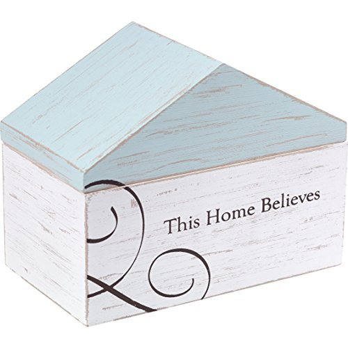 Precious Moments This Home Believes Rustic Farmhouse Distressed Wooden Decorative Desktop Home Décor Box 173427 by Precious Moments