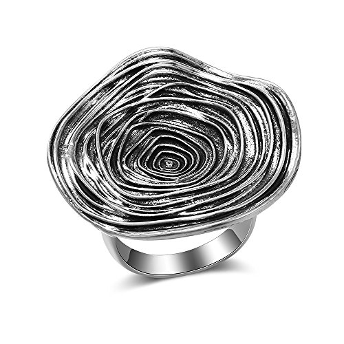 Mytys Vintage Silver Rings Knot Twist Circle Designer Bali Design Solid Large Bold Statement Chunky Rings for Women Men (Bold Mens Ring)