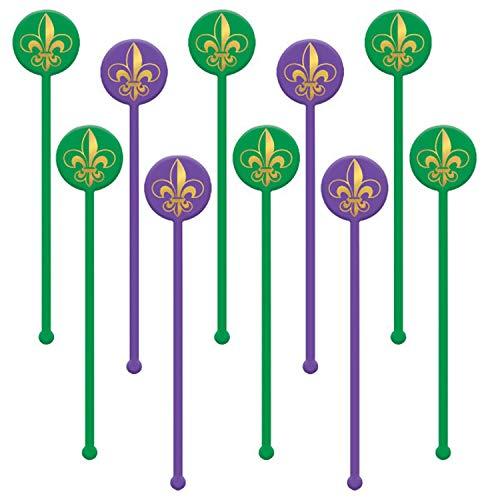 Fleur De Lis Mardi Gras Plastic Drink Coffee Swizzle Stick Stirrers 18 ct]()
