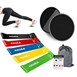 Eastshining Fitness Training Set – 2 Portable Core Sliders Gliding Discs and 5 Resistance Loop Exercise Bands plus Carry Bag, Perfect Home Low Impact Workout For Legs and Butt, Pilates, Yoga Review