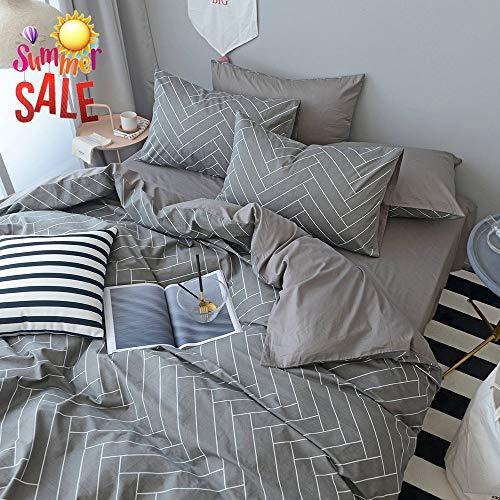 Chevron Striped Cotton Duvet Cover Set Queen Modern Grey Geometric Bedding Set 3 Piece Luxury Hotel Duvet Comforter Cover Set 1 Duvet Cover with 2 Pillowcases Reversible Full Queen Bed Set (Sets Bed Chevron)