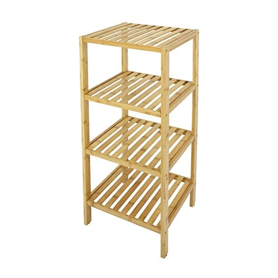 Smartxchoices 4 Tier Bamboo Bathroom Standing Shelf Organizer Rack Multifunctional Units Free Standing Towel Holder for Soap,Shampoo, Accessories(4 Tier) - Made of 100% bamboo, this Bamboo Shelf Collection is an assortment of shelves that are easy to assemble with included hardware. 4 tiers bamboo rack & storage shelf for toiletries, towels, sundries, decorative things, knick knacks, shoes, books, plants, spice and small appliances in bathroom, living room, balcony, kitchen, etc. Natural and smooth finish, rounded corners, protect your family from being scratched, especially the children. You can remove a layer for high stuff. - shelves-cabinets, bathroom-fixtures-hardware, bathroom - 51YAGkeK8%2BL. SS570  -