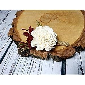 Ivory Brown Burgundy Green Rustic Wedding Boutonniere Sola Flowers Burlap 2