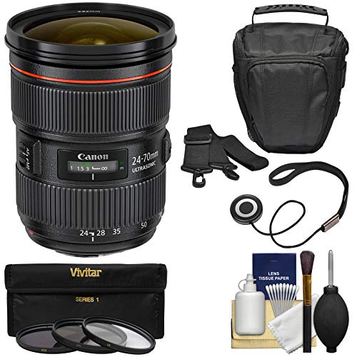 Canon EF 24-70mm f/2.8 L II USM Zoom Lens with Case + 3 UV/CPL/ND8 Filters Kit for EOS 6D, 70D, 7D, 5DS, 5D Mark II III, Rebel T5, T5i, T6i, T6s, SL1 (Canon Ef 24 70mm F 2-8 L)