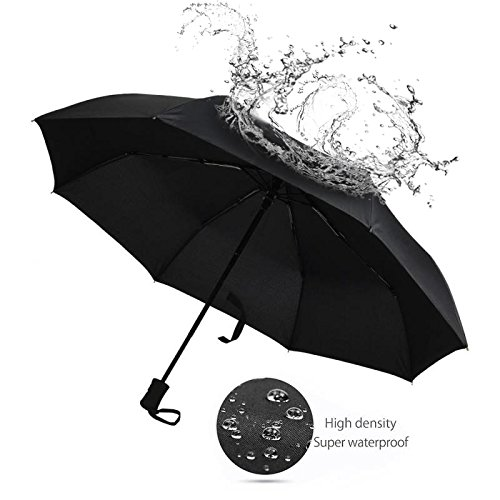 EXCEL-LEADER Unbreakable Windproof Golf Umbrella,Strong 8 Rib Frame Automatic & Convenient Compact One Hand Auto Open & Close Folding Umbrella,Black by EXCEL-LEADER (Image #4)