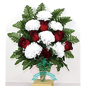 Red Roses and White Carnations Cemetery Arrangement For Mausoleum 65