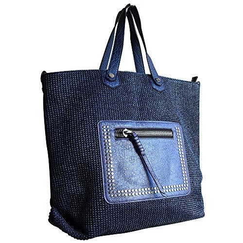 main à contenance paillettée d'abeilles Mode poche de marine avec grande Bleu Simili nid Sac style et tressé Shopping cuir bleu xqIRSw