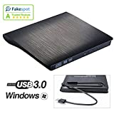 USB 3.0 External DVD Drive, Slim Portable CD DVD RW Burner Optical Drive Player for Windows 10 8 7 Thinkpad Toshiba HP Dell Lenovo Sony Acer Laptop Macbook Pro by ROOFULL (Black)