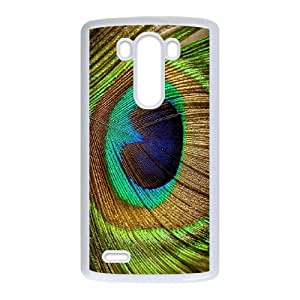 Colorful Peacock Feather LG G3 Cell Phone Case White W9870592