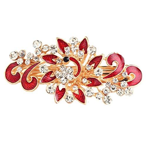 - Botrong Peacock Rhinestone Hair Pins Hairpins Clip Hairpin Hair Accessories (Red)