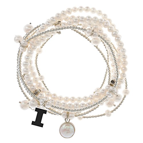 Illinois Fighting Illini 7 Strand Freshwater Pearl and Silver Bracelet by College Jewelry