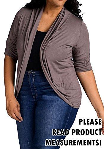Women's Plus Size Half Sleeve Bolero Shrug Knit Cardigan Open Front Stretch (1X, Grey)