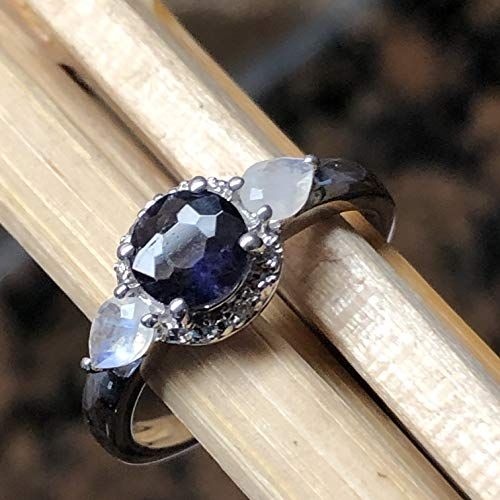 - Natural 1ct Iolite { Water Sapphire }, Rainbow Moonstone 925 Solid Sterling Silver Engagement Ring sz 6, 7, 8, 9