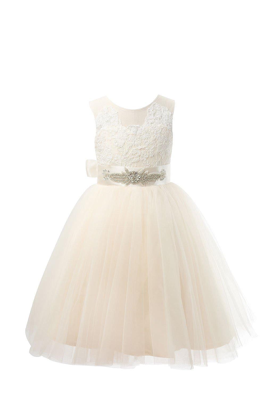 bc3387e1596 Amazon.com  Miama Champagne Lace Tulle Wedding Flower Girl Dress Junior  Bridesmaid Dress  Clothing