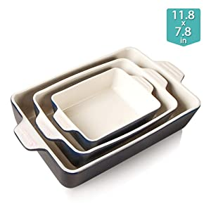 Sweejar Ceramic Bakeware-Set Baking-Dish Lasagna-Pans (Navy)