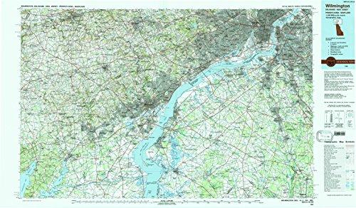 YellowMaps Wilmington DE topo map, 1:100000 Scale, 30 X 60 Minute, Historical, 1984, Updated 1988, 24.1 x 41.1 in - Polypropylene (Academy Hog)