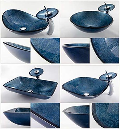洗面ボール 浴室の容器シンクセット現代単にガラス容器バスルームシンクの現代洗面所の強化ガラスのシンクの設定 洗面ボール・洗面器 (色 : Grey-blue, Size : B1)