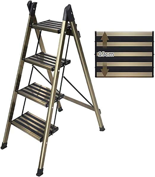 Inicio Plegable Escalera De 4 Escalones con Plataforma Ancha, Escalera De Tijera Ligera De Aluminio para Interiores Y Exteriores, Capacidad De 330 LB: Amazon.es: Hogar