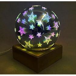 3D Glass Hood Magic Lights Button-Style Fire Tree Silver Lanterns Led Bedside Bedroom Decorative Table Lamp Star Light Creative Night Light (15 10Cm) , 1