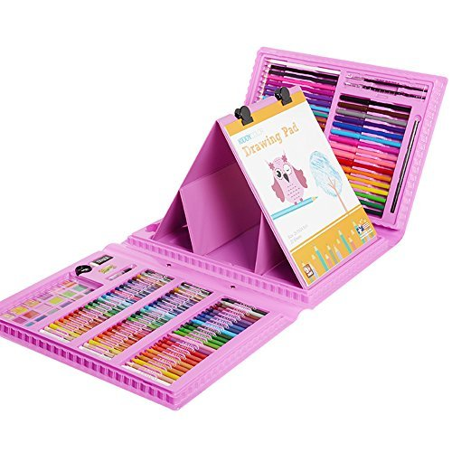 KIDDYCOLOR 172-Piece Deluxe Art Set for Kids with Plastic Case Pink Light, Great Gift for Kids