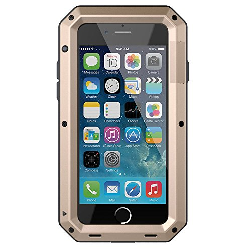 iPhone 8 Case,iPhone 7 Case,Gorilla Glass Luxury Aluminum Alloy Protective Metal Extreme Shockproof Military Bumper Heavy Duty Cover Shell Case Skin Protector for Apple iPhone 8 & iPhone 7-Gold