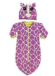 Sozo Baby-Girls Newborn Giraffe Bunting and Cap Set, Purple, 0-6 Months