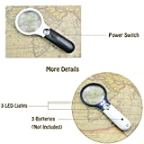 Magnifier 3 LED Light, Marrywindix 5X 20X Handheld Magnifier Reading Magnifying Glass Lens Jewelry Loupe White and Black