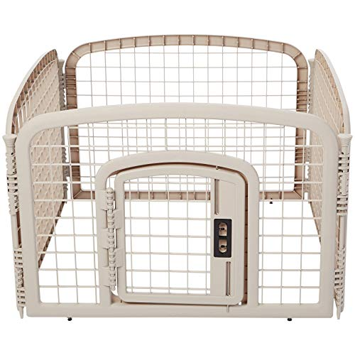 AmazonBasics 4-Panel Plastic Pet Pen Fence Enclosure With Gate - 35 x 35 x 24 Inches, Beige ()