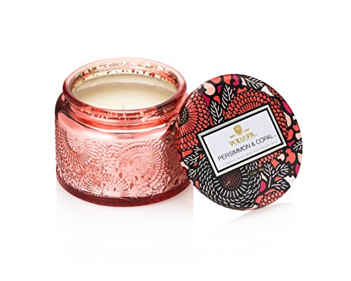 (Voluspa Persimmon and Copal Small Embossed Glass Jar Candle, 3.2 ounces)