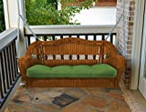 Portside Porch Swing Amber Wicker - With Hunter Green Cushion