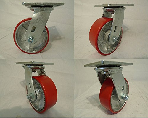 5' X 2' Swivel Casters Heavy Duty Polyurethane Wheel on Steel Hub 1000lb Each (4) Tool Box