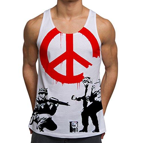 Men's Graphic Tank Top Summer Beach Sleeveless T Shirt Banksy Peace solder Printed - Designer Men Top