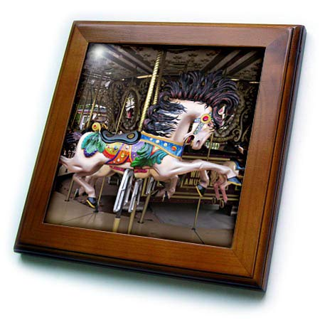 3dRose Jos Fauxtographee- Carousel Horse Ride - A Horse on a Carousel Ready for Someone to sit on While Going Around - 8x8 Framed Tile (ft_303260_1)