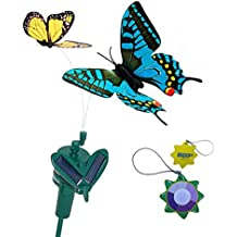 HQRP Pair of Solar Powered Flying Fluttering Butterflies Yellow Monarch and Blue Swallowtail for Garden Plants Flowers plus HQRP UV Chain / UV Health Meter