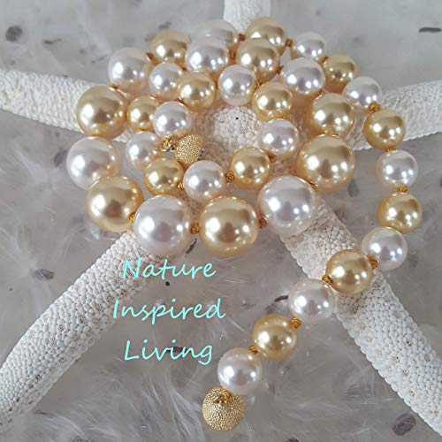 19 inch Deep Gold and White Multicolor Pearl Necklace Handknotted 10 to 14mm Simulated Swarovski Pearls
